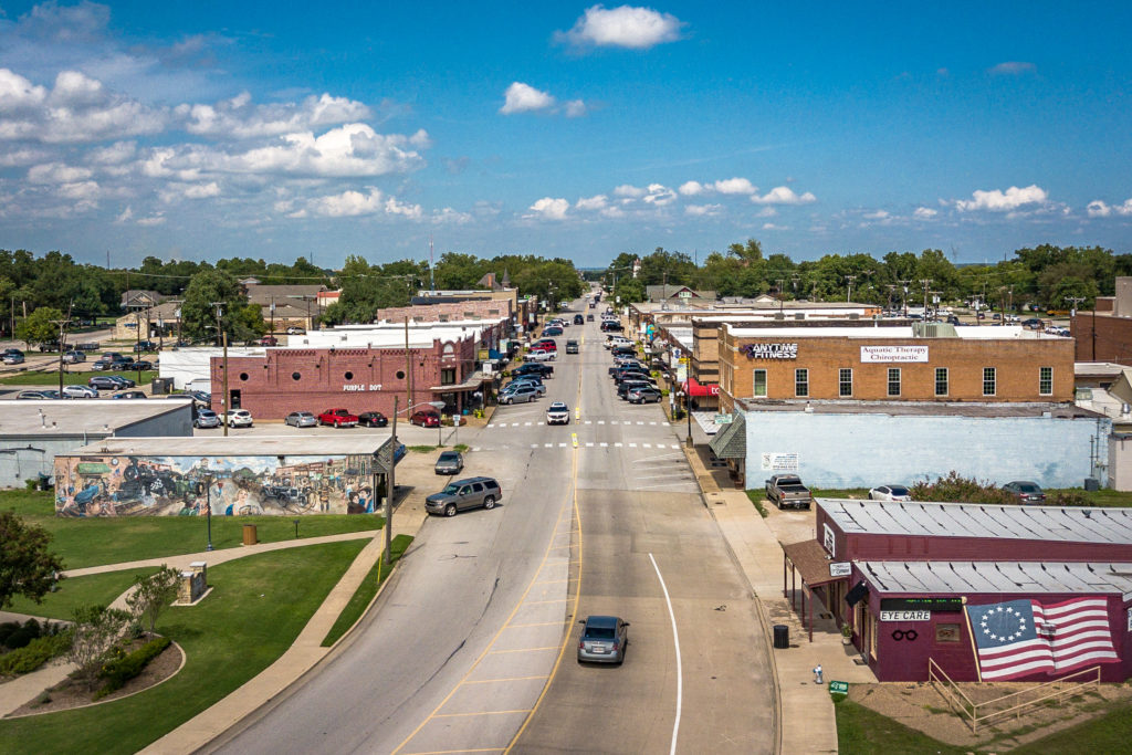 drone shot of downtown wylie