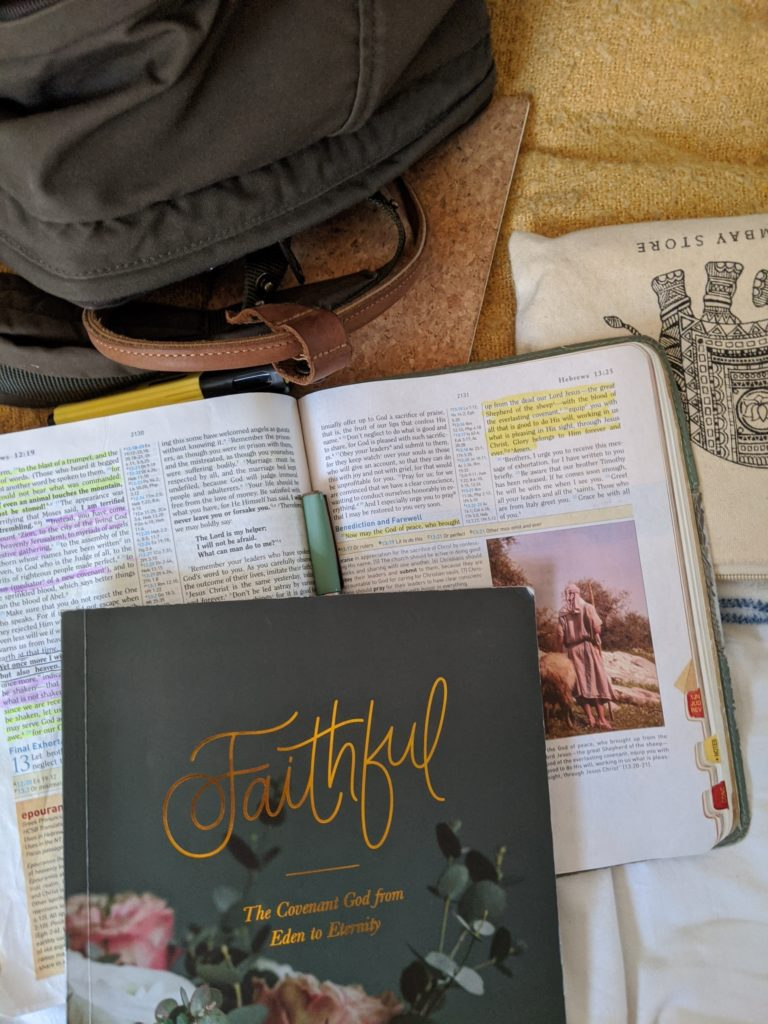 """A flatlay photo of a Bible and a """"Faithful"""" devotional used for devotions"""
